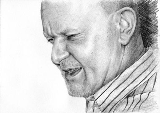 Portret mężczyzny z profilu, wykonany ołówkiem.