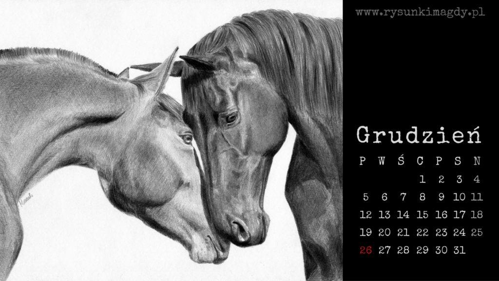 Tapeta na pulpit z rysunkiem koni