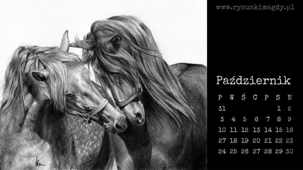 Kalendarz na październik 2016 z rysunkiem koni.