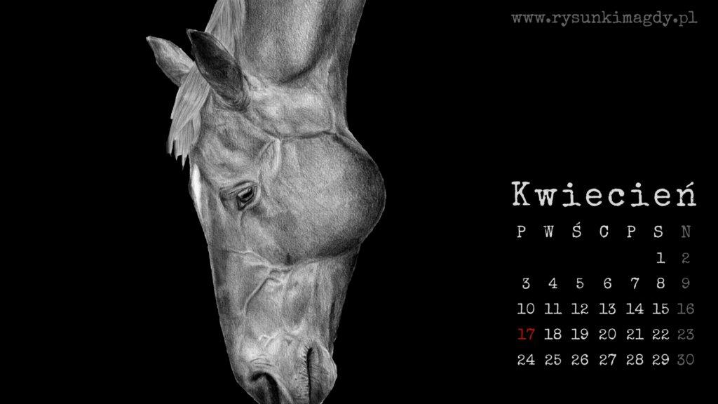 Kalendarz tapeta na pulpit z rysunkiem konia, kwiecień 2017.