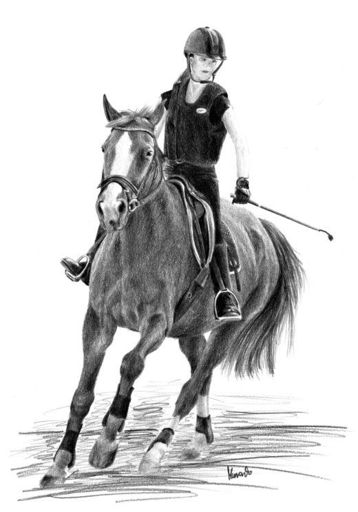 Rysunek jeźdźca na koniu