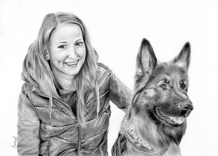 Dziewczyna I Pies Magdalena Muraszko Kowalska Rysunki