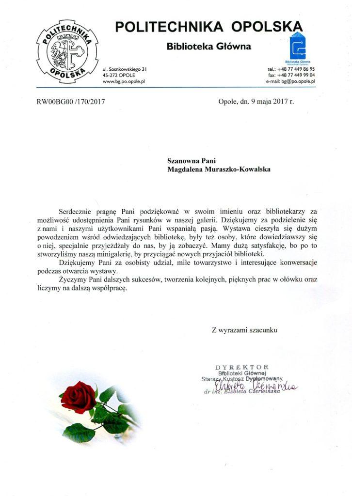 List z podziękowaniem za wystawę w Opolu.