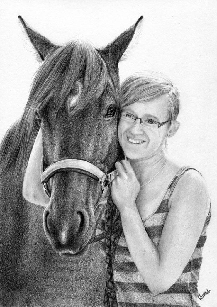Rysunek kobiety i konia, portret.