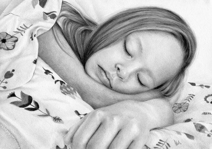 Portret śpiącej dziewczynki.