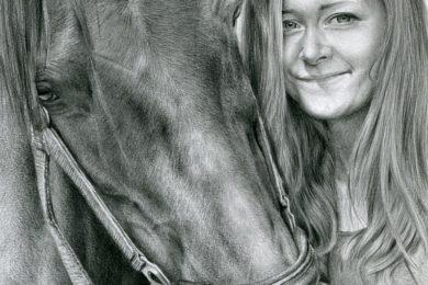 Portret dziewczyny i konia.