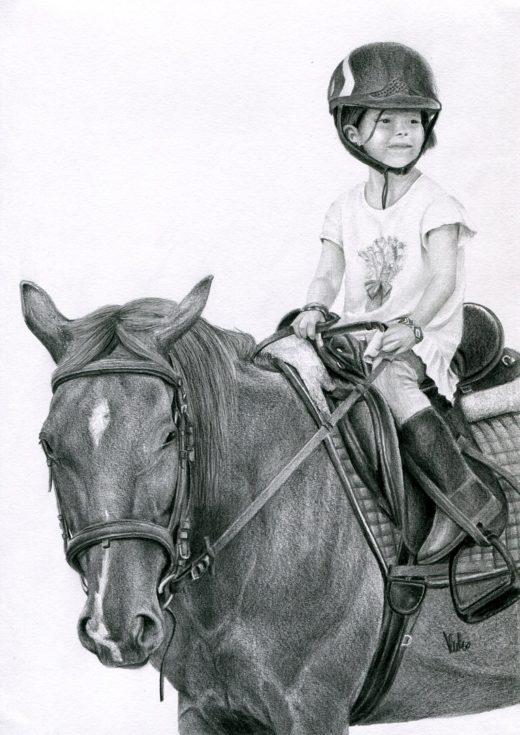 Portret dziewczynki na koniu