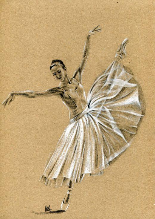 Rysunek baleriny zwiewnej sukni.